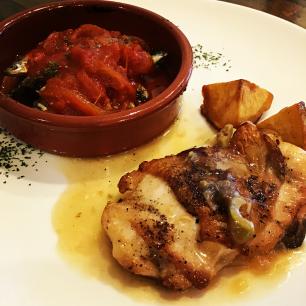 若鶏のソテー シェリー酒ソースとワカサギのオーブン焼き パプリカ風味